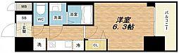 プレサンス谷町九丁目ディセオ 2階1Kの間取り