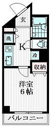 JR中央本線 立川駅 徒歩7分の賃貸マンション 4階1Kの間取り