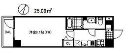 アドバンス神戸グルーブ2 3階1Kの間取り
