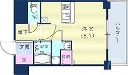 阪急神戸本線 春日野道駅 徒歩7分の賃貸マンション 1階1Kの間取り