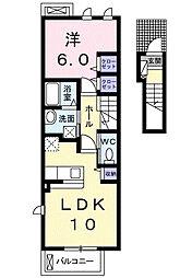 ヴェルドゥーラ D 2階1LDKの間取り