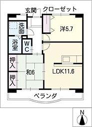 プレステージS・KOZAKAI 2階2LDKの間取り