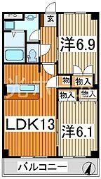 埼玉県所沢市大字松郷丁目なしの賃貸マンションの間取り