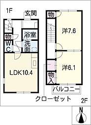 [タウンハウス] 愛知県豊橋市下条東町字広間 の賃貸【/】の間取り