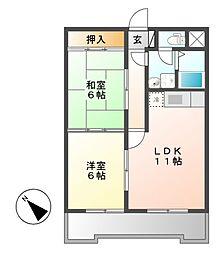 アルル覚王山[2階]の間取り