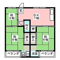 ビレッジハウス中根2号棟[2階]の間取り