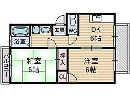 サンハイツ千原[3階]の間取り