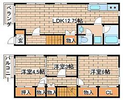 [テラスハウス] 兵庫県神戸市東灘区魚崎北町1丁目 の賃貸【/】の間取り