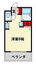 JR鹿児島本線 八幡駅 徒歩15分の賃貸アパート 2階ワンルームの間取り