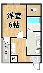 近鉄南大阪線 矢田駅 徒歩10分の賃貸アパート 1階1Kの間取り