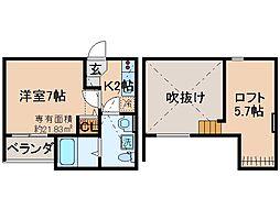 京都府京都市伏見区深草南蓮池町の賃貸アパートの間取り