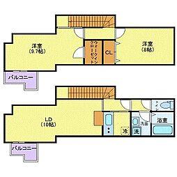 都営大江戸線 西新宿五丁目駅 徒歩6分の賃貸アパート 2階2LDKの間取り