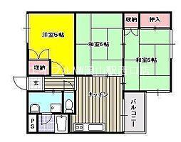岡山県岡山市中区西川原丁目なしの賃貸マンションの間取り