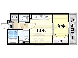 KTI レジデンス鶴見 1階1LDKの間取り