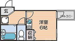 南海線 新今宮駅 徒歩3分の賃貸マンション 4階ワンルームの間取り