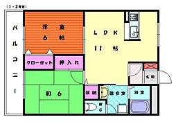 フェリース福島[2階]の間取り