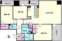 ワコーレ大阪新町タワーレジデンス 5階3LDKの間取り