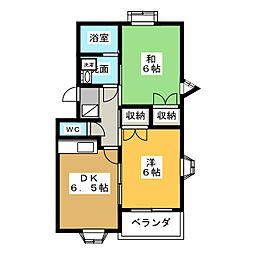 ユニオン3B[2階]の間取り