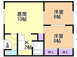 明美荘 2階2LDKの間取り