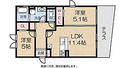南海線 泉大津駅 徒歩10分の賃貸アパート 1階1LDKの間取り
