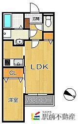 福岡市地下鉄七隈線 六本松駅 徒歩5分の賃貸アパート 1階1LDKの間取り