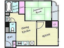 Osaka Metro谷町線 天神橋筋六丁目駅 徒歩13分の賃貸マンション 3階2DKの間取り