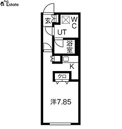名古屋市営東山線 東山公園駅 徒歩4分の賃貸マンション 4階ワンルームの間取り