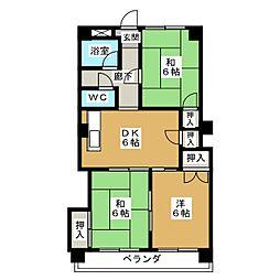 コーポ華[3階]の間取り