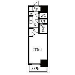 名古屋市営鶴舞線 浅間町駅 徒歩5分の賃貸マンション 6階1Kの間取り