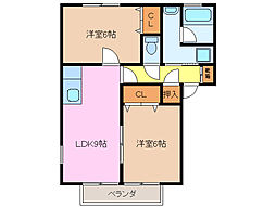 三重県津市一志町田尻の賃貸アパートの間取り