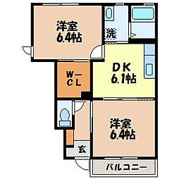 カーサ・チェレステ A棟 1階2DKの間取り