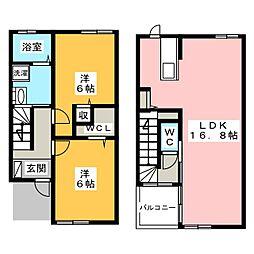 [テラスハウス] 静岡県磐田市見付 の賃貸【/】の間取り