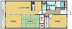 大阪府高槻市梶原4丁目の賃貸マンションの間取り