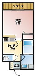 バス 上間下車 徒歩2分の賃貸アパート 3階1Kの間取り