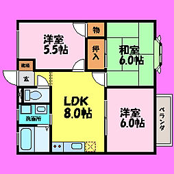 滋賀県大津市南志賀3丁目の賃貸アパートの間取り