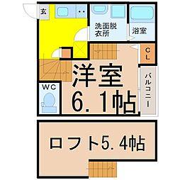 近鉄名古屋線 黄金駅 徒歩5分の賃貸アパート 2階1SKの間取り