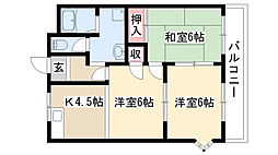 愛知県日進市野方町前田の賃貸アパートの間取り