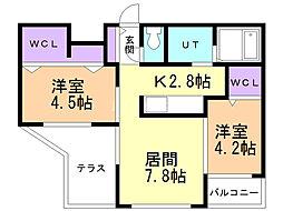 Lunon Sapporo Sta. 1階2LDKの間取り