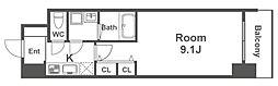 Osaka Metro御堂筋線 淀屋橋駅 徒歩5分の賃貸マンション 14階1Kの間取り