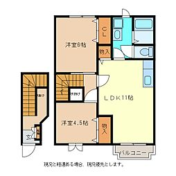 マーヴェラスA[2階]の間取り