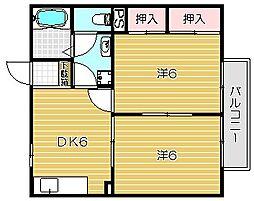 大阪府高槻市堤町の賃貸アパートの間取り
