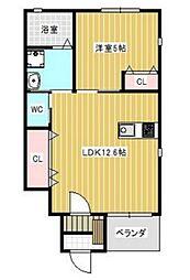 JR山陽本線 高島駅 徒歩20分の賃貸アパート 1階1LDKの間取り