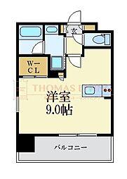 LANDIC 美野島3丁目 4階ワンルームの間取り