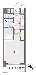 ブラン東光 9階1Kの間取り