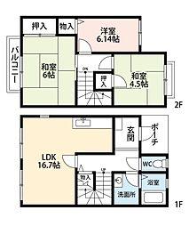 福岡県北九州市小倉南区沼緑町3丁目の賃貸アパートの間取り