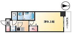 ディアレイシャス浅間町 12階1Kの間取り