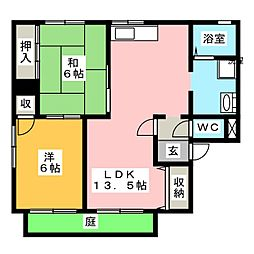 グリーンライフ福泊[1階]の間取り