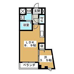 プリオーレ衣笠[2階]の間取り