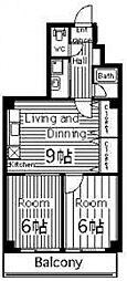 サニーマンション東部[302号室号室]の間取り