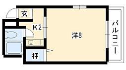 カミュエラ四条 4階1Kの間取り